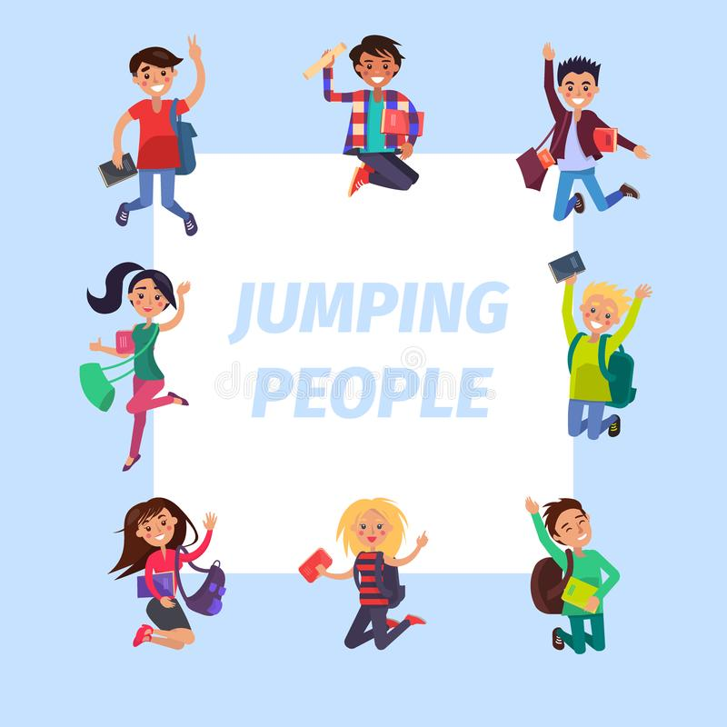 愉快的年轻跳跃的人横幅例证 向量例证