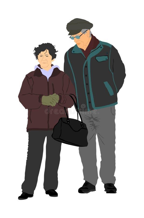 愉快的年长前辈夫妇在白色一起导航隔绝 走,不用棍子的老人人 活跃成熟的老人 库存例证