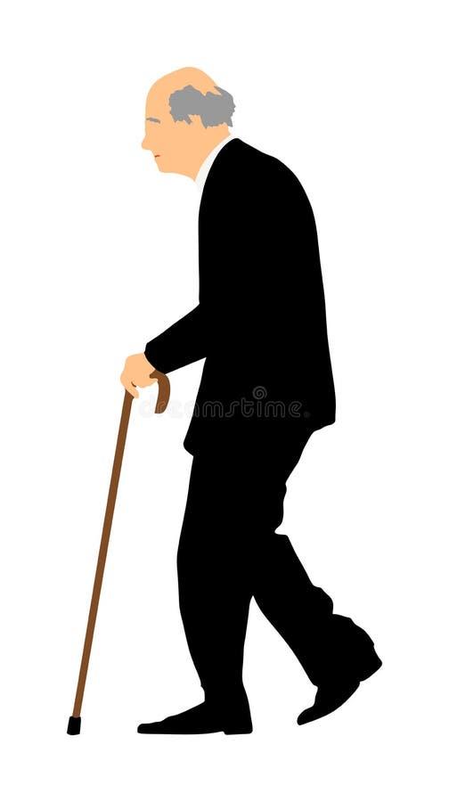 愉快的年长在白色隔绝的前辈走的单独传染媒介 老人人用棍子 成熟老人激活生活 Grandfathe 库存例证