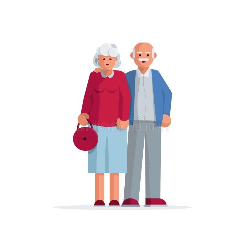 愉快的年长夫妇一起 向量例证