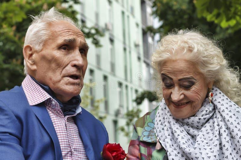 愉快的年长夫妇,步行在公园,快乐的微笑,爱, 图库摄影