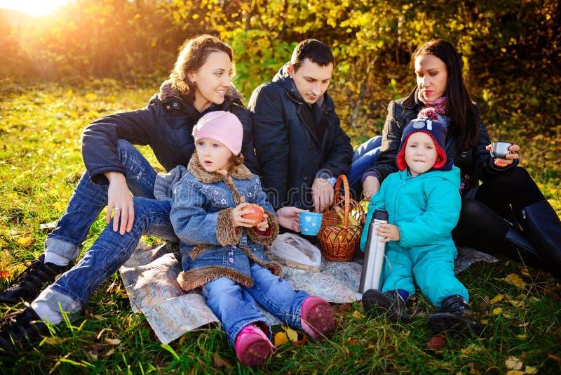 愉快的幼小四口之家有野餐在草甸夏日 免版税库存图片