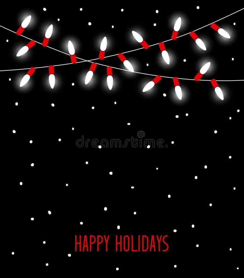 愉快的庆祝圣诞节新年生日和其他事件带领了在白色和红颜色的电灯泡灯 皇族释放例证