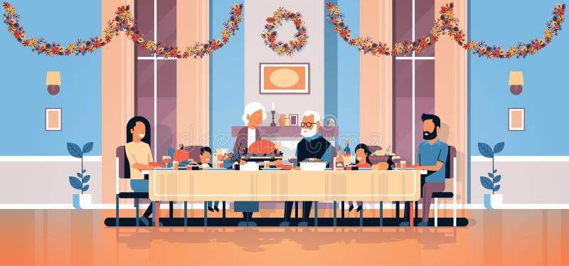 愉快的庆祝感谢天假日传统晚餐概念的感恩天多一代家庭坐的桌 向量例证