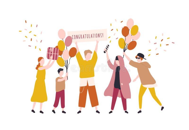 愉快的庆祝生日的年轻人和妇女 高兴在惊喜派对的人们 有礼物的快乐的少年 库存例证