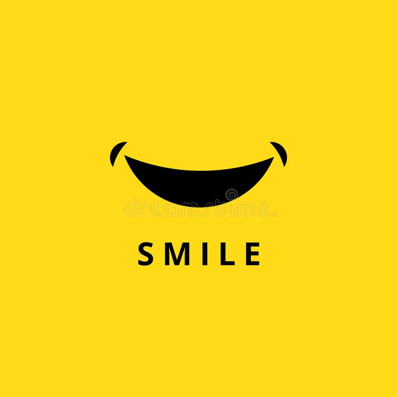 愉快的微笑乱画 在黄色背景隔绝的滑稽的微笑的嘴 动画片微笑商标传染媒介象 库存例证