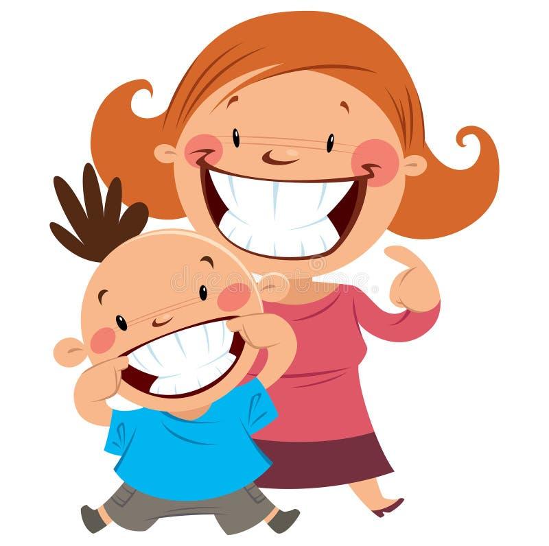 愉快的微笑妈妈和的儿子显示他们的牙 库存例证