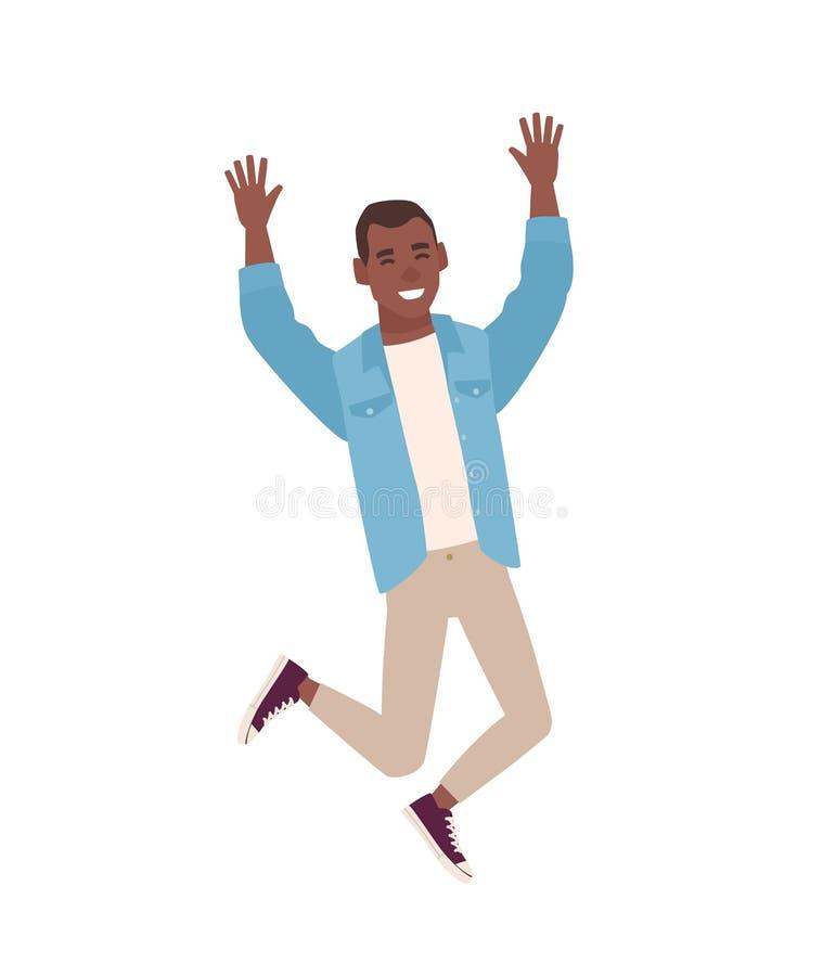 愉快的微笑的人在跳用被举的手的便衣穿戴了 年轻人欣喜或庆祝 男性动画片 向量例证