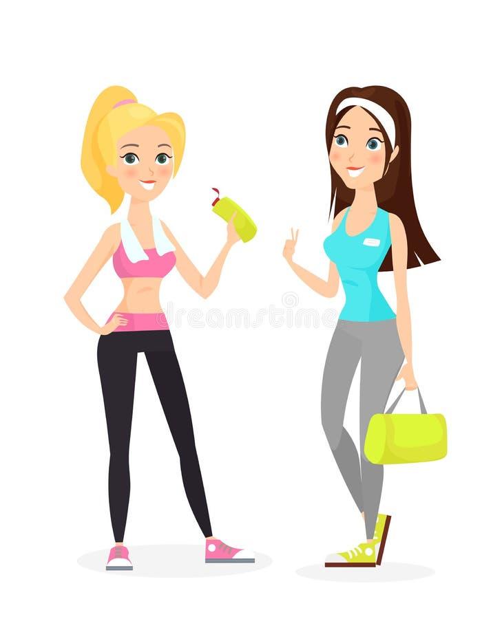 愉快的微笑的健康坚强的年轻浅黑肤色的男人和白肤金发的女性健身女孩时髦的体育衣裳和运动鞋的与 皇族释放例证