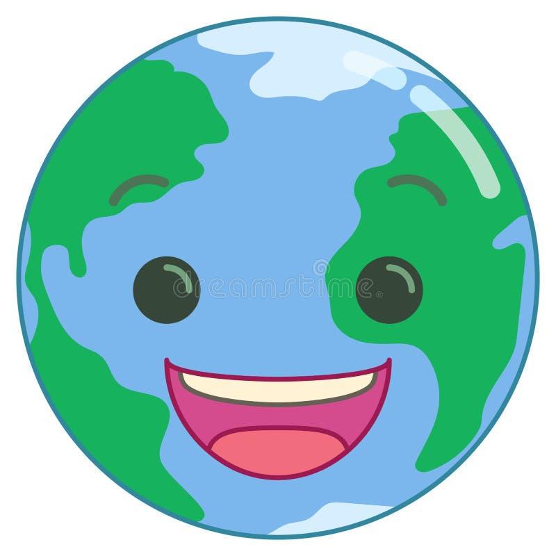 愉快的微笑的动画片地球 皇族释放例证