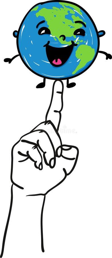 愉快的微笑的地球地球坐愉快的世界地球日的一只指向的手-手拉的例证 库存例证