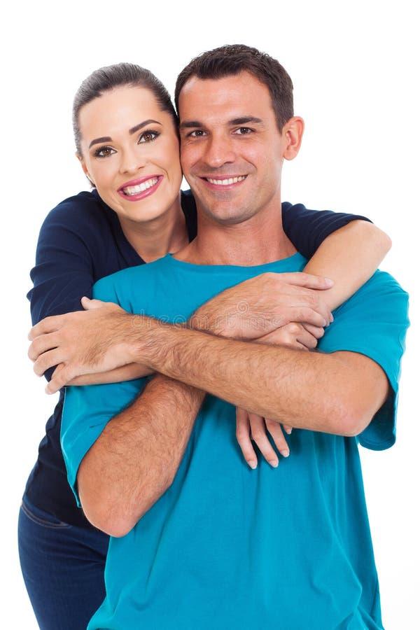 愉快的微笑的夫妇 免版税库存照片