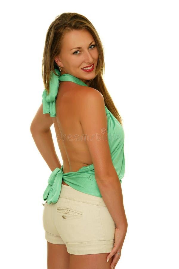 愉快的微笑的女孩 免版税图库摄影