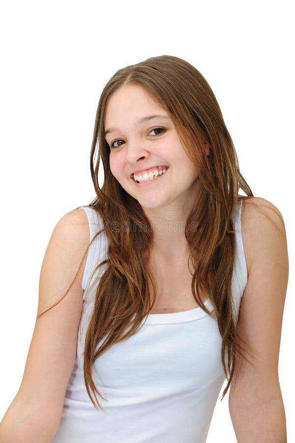 愉快的微笑的妇女年轻人 免版税库存图片