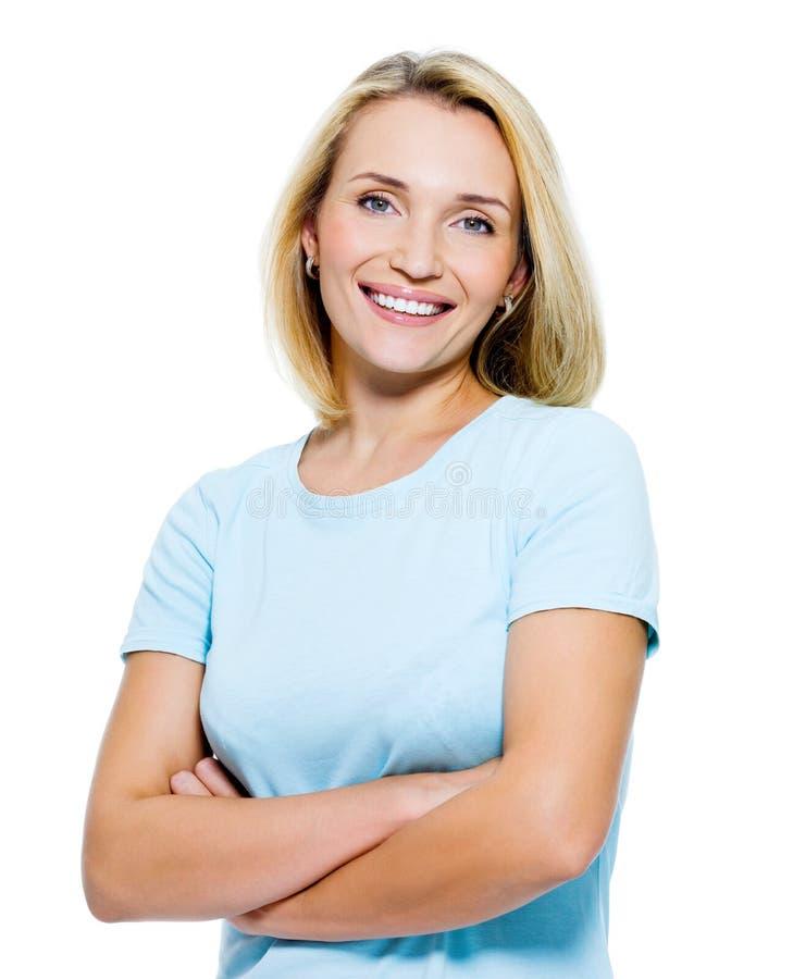 愉快的微笑的妇女 免版税库存图片