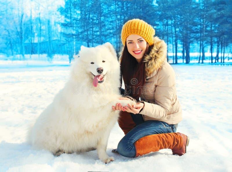 愉快的微笑的少妇所有者与在雪的白色萨莫耶特人狗冬日 库存图片