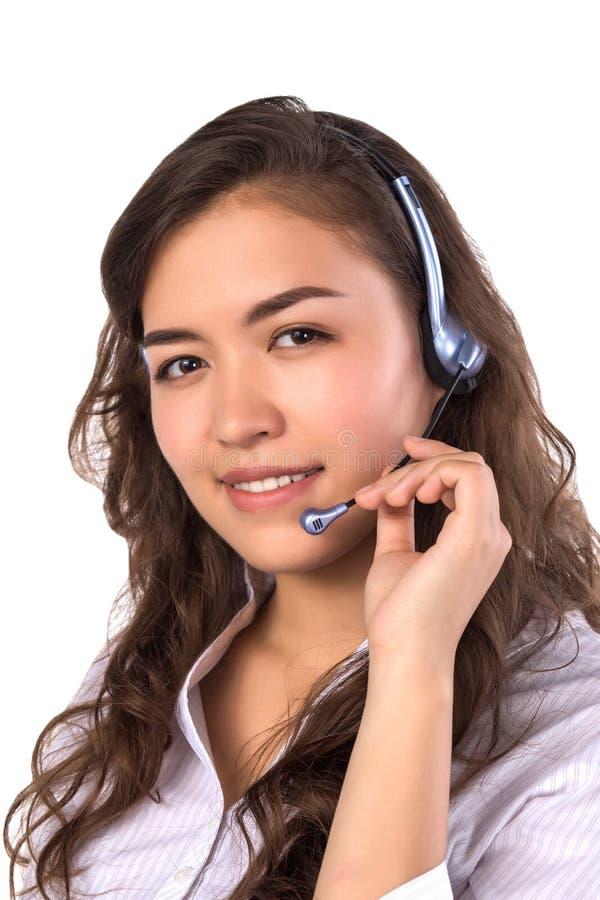 愉快的微笑的快乐的支持电话操作员画象耳机的 图库摄影
