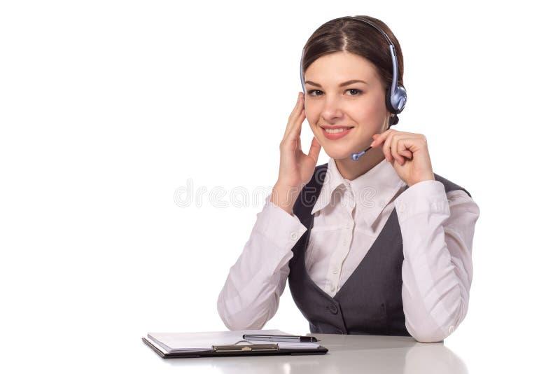 愉快的微笑的快乐的支持电话操作员画象耳机的 库存照片