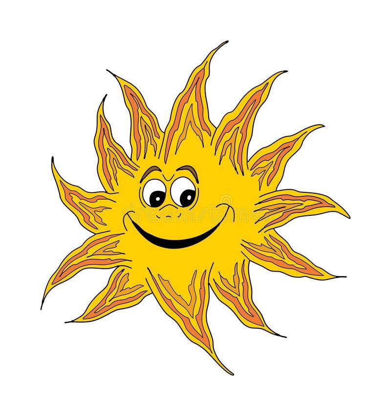 愉快的微笑的星期日 向量例证