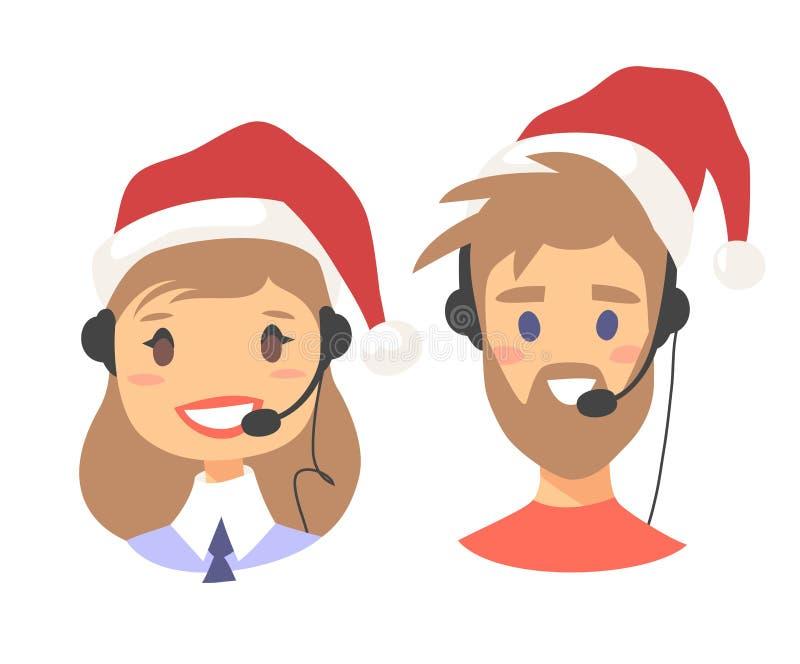 愉快的微笑的用户支持电话操作员画象圣诞节帽子的 有图片