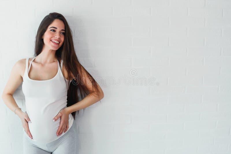 愉快的微笑的美丽的孕妇在家 库存照片