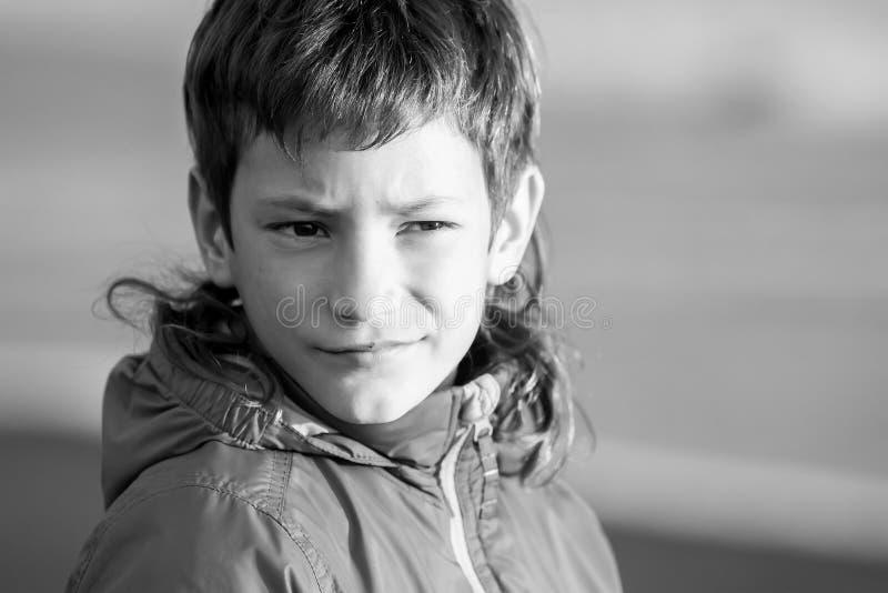 年轻愉快的微笑的青少年的男孩室外画象室外natu的 库存图片