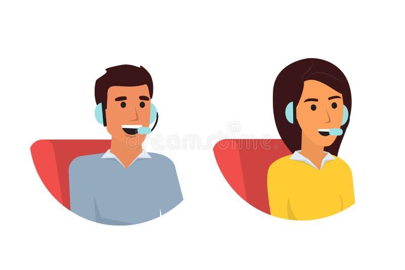 愉快的微笑的顾客服务电话操作员 电话中心网上技术支持 在平的设计的传染媒介例证 皇族释放例证