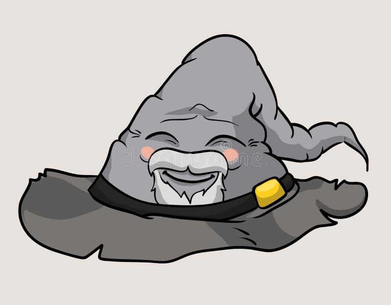 愉快的微笑长辈巫术师帽子 向量例证