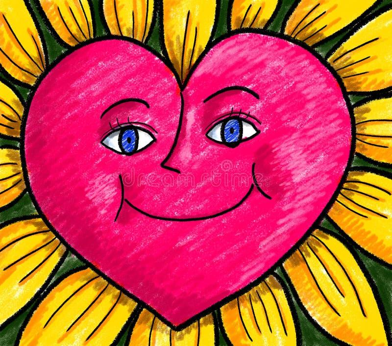 愉快的心脏花向日葵 皇族释放例证