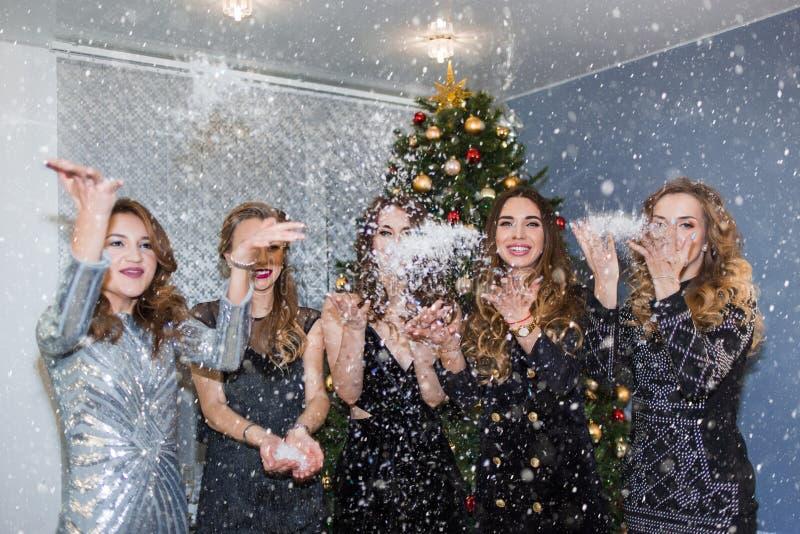 愉快的快乐的俏丽的妇女投掷五彩纸屑、雪和微笑在党 库存图片