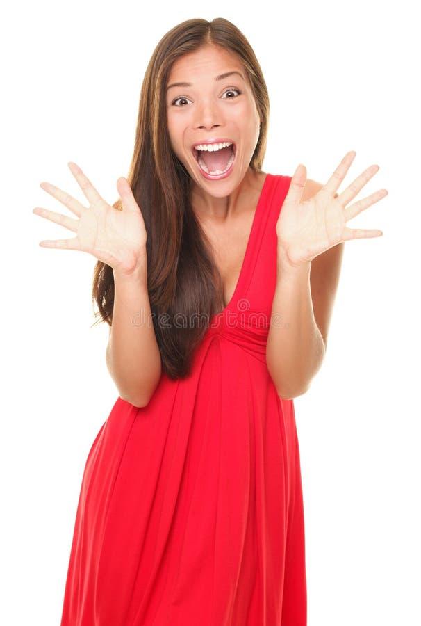 愉快的快乐的叫喊的惊奇妇女 库存图片