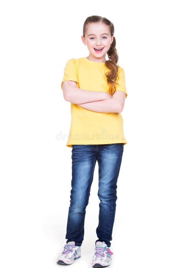 愉快的快乐的小女孩用横渡的手 免版税库存图片