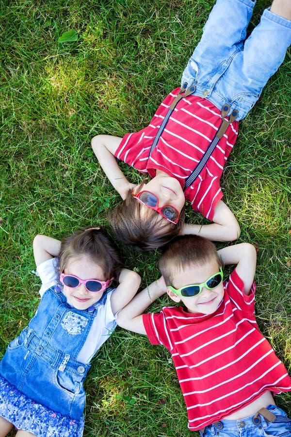愉快的快乐的微笑的孩子,放置在草,唱歌的佩带 库存照片