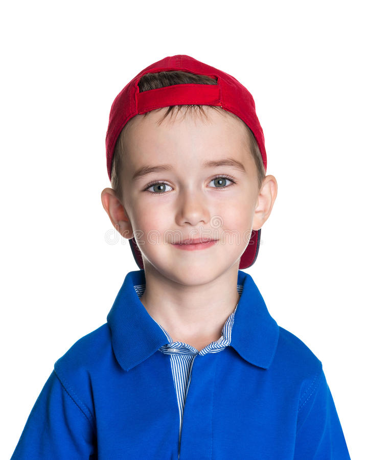 愉快的快乐的美丽的小男孩画象  库存照片