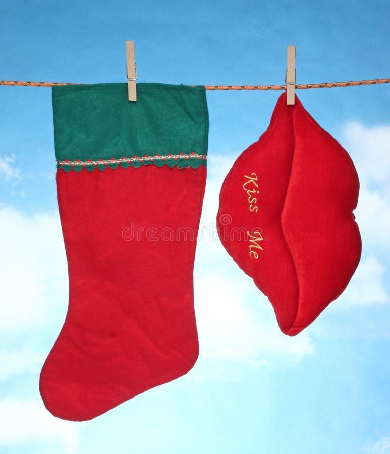 愉快的快活的X mas垂悬的圣诞节装饰牡鹿和圣诞老人袜子 免版税库存图片