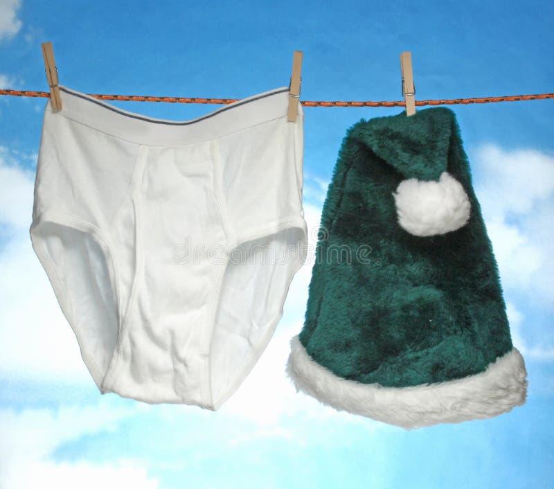 愉快的快活的X mas垂悬的男性裤子和圣诞老人帽子 库存照片