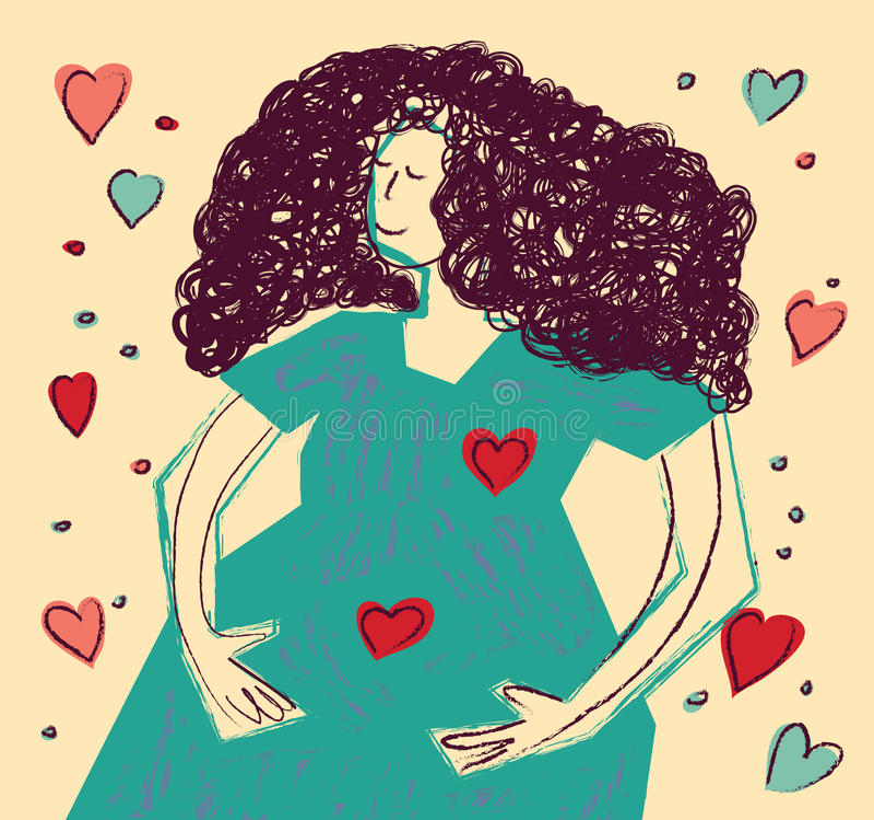 年轻愉快的怀孕妇女颜色 皇族释放例证