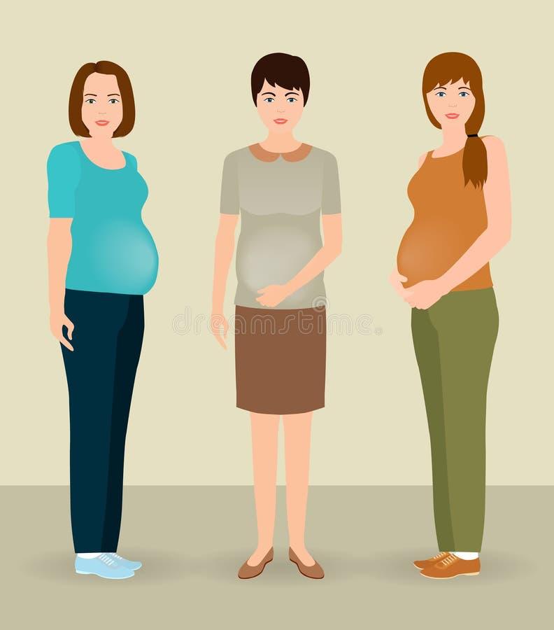 愉快的怀孕概念 一起站立小组三个孕妇的字符 向量例证