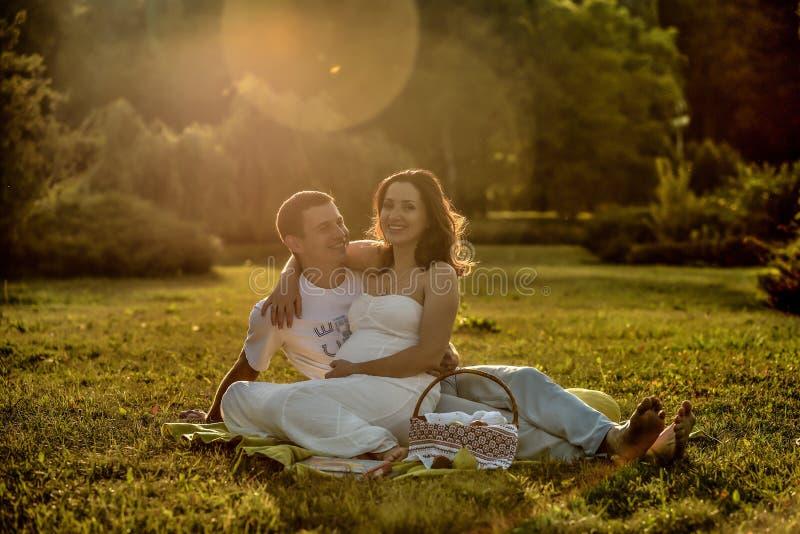 愉快的怀孕的夫妇坐草在公园 免版税库存照片