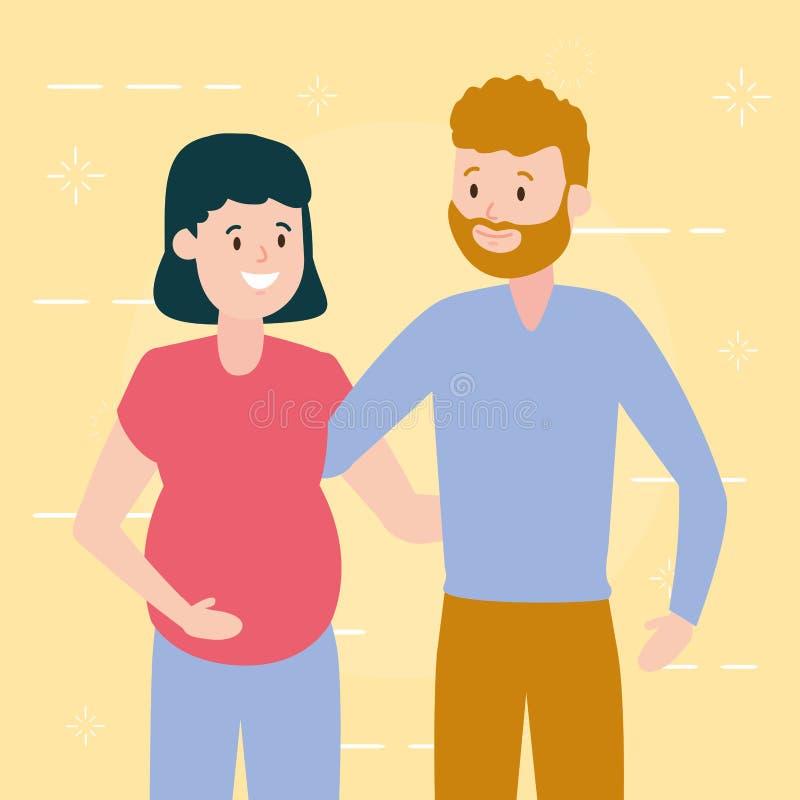 愉快的怀孕的夫妇 向量例证