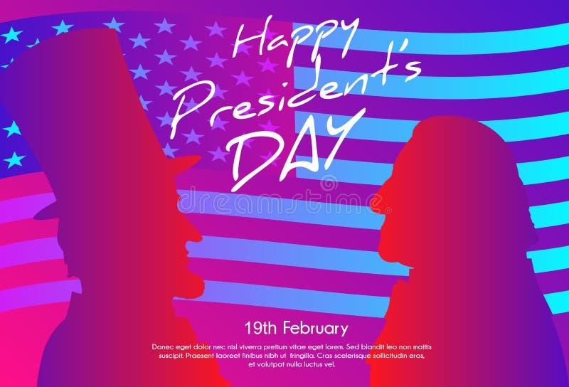 愉快的总统Day在美国背景中 与旗子的乔治・华盛顿和亚伯拉罕・林肯剪影作为背景 皇族释放例证