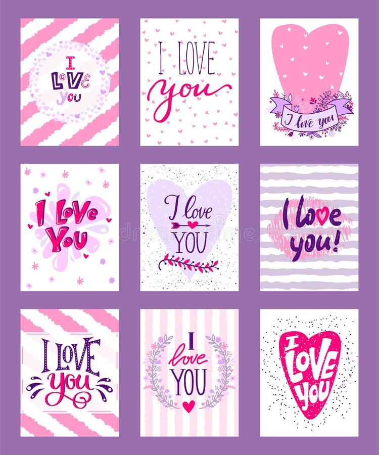愉快的情人节传染媒介例证 设置华伦泰浪漫贺卡,邀请,海报设计模板 库存例证