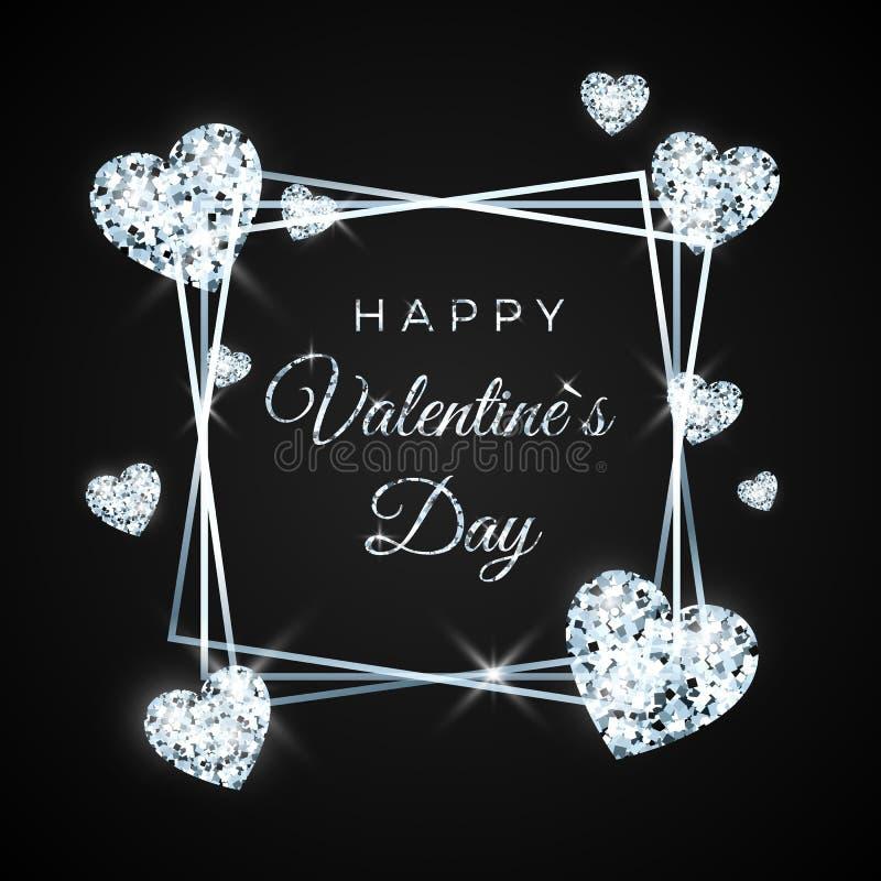 愉快的情人节传染媒介贺卡 金刚石心脏和文本在黑背景 华伦泰横幅的概念 向量 库存例证