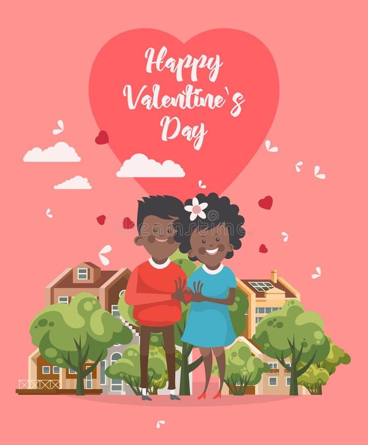 愉快的情人节传染媒介 与非洲人美国夫妇的贺卡 华伦泰在平的样式的` s背景 向量例证