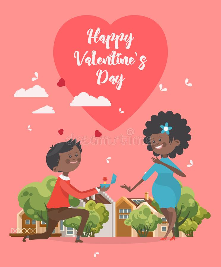 愉快的情人节传染媒介 订婚 与非洲人美国夫妇的贺卡 华伦泰在平的样式的` s背景 向量例证