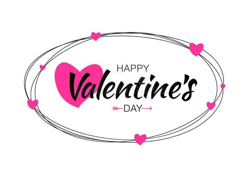 愉快的情人节卡片设计 乱写线卵形与在与桃红色心脏的白色背景隔绝的手拉 库存例证