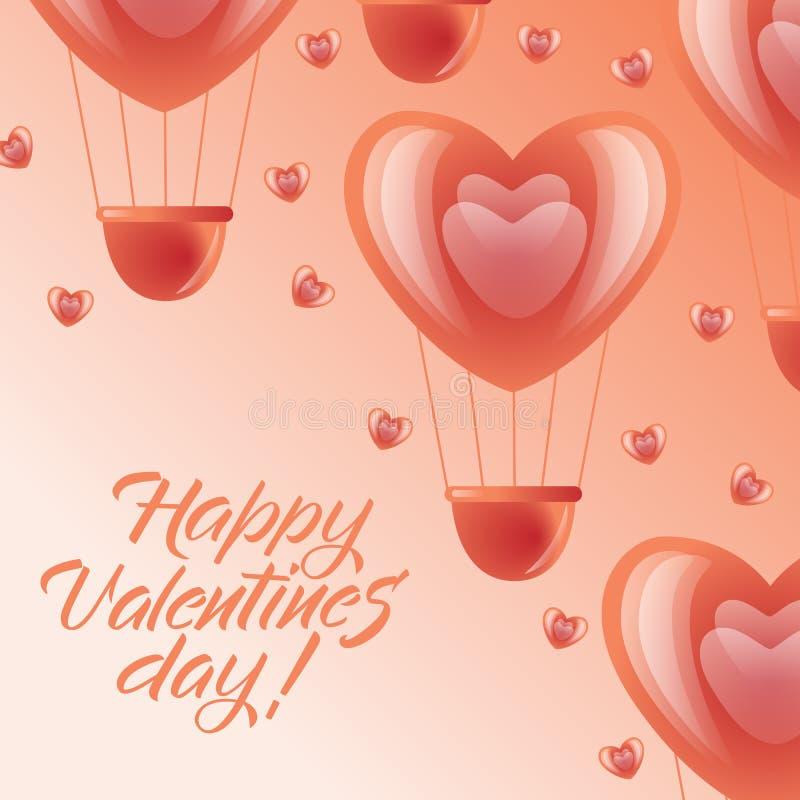 愉快的情人节卡片-桃红色心脏气球 向量例证