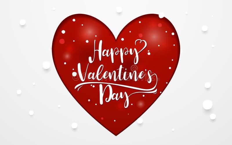 愉快的情人节印刷术和红色心脏裱糊艺术样式 皇族释放例证