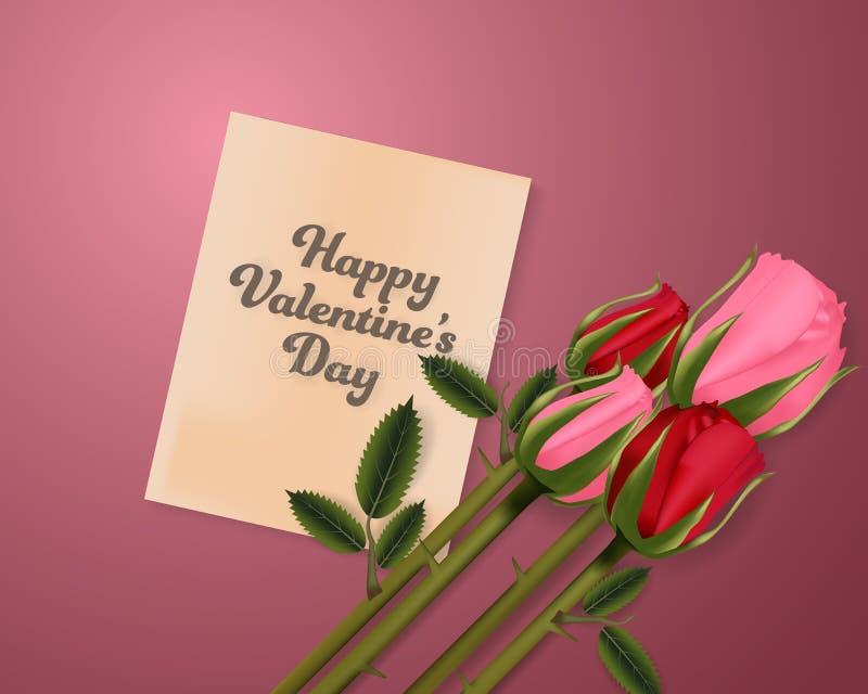 愉快的情人节和玫瑰减速火箭的背景横幅卡片 墙纸,邀请,海报,小册子 库存例证