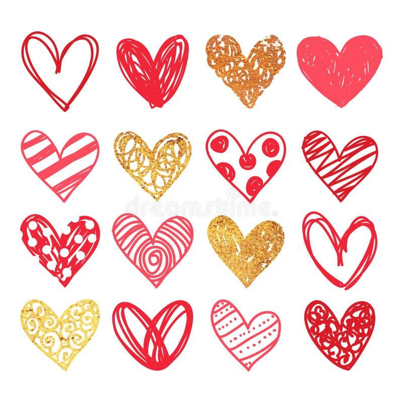 愉快的情人节和除草设计元素 也corel凹道例证向量 与装饰品,心脏的桃红色背景 乱画和卷毛 库存照片